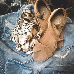 Toms Wedge Tan Suede Sandals